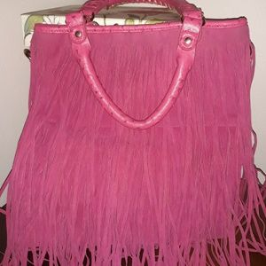 Pink fringed leather purse